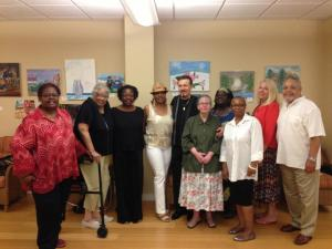 PN&E poetry and creative writing workshop members Peggy Eaddy, Virginia Gilley,  Mary A. Miller, Sureta Overton, Peter Velotti, Featured Guest Poets  Heather Archibald,  Jill Austen, Gary Johnston and Barbara Newsome with Lorraine Currelley, Founder Poets Netork & Exchange.