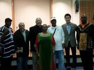 Our Esteemed Ogboni members: Gary Johnston, Jason Koo, Jesus Papaleto Melendez, and William S. Peters, Sr. with Co-Moderator, Robert Gibbons and Lorraine Currelley, Founder/Director Poets Network & Exchange