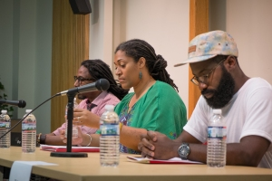 "Panelists Anton Nimblett, Keisha-Gaye Anderson and Tishon Woolcock and Audience at Poets Network & Exchange ""Caribbean Voices"" Countee Cullen Branch, NYPL June 21st, 2014.  (photo Jennifer Carrano)"