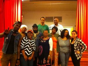 Featured Guests Kokumo Noxid and Radhiyah Ayobami with Lorraine Currelley, Founder/Exec. Dir., Edward D. Currelley, Open mic Facilitator, audience attendees and Open mic participants