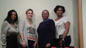 W.D. Moore, Meriam Rodriguez, Kiini Ibura Salaam with Lorraine Currelley, Founder/Executive Director Poets Network & Exchange