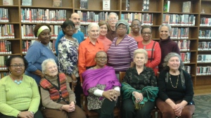 Members of the Arts for A Lifetime Poetry and Creative Writing Workshop, Baychester Library. Facilitator, poet and author Lorraine Currelley 2015